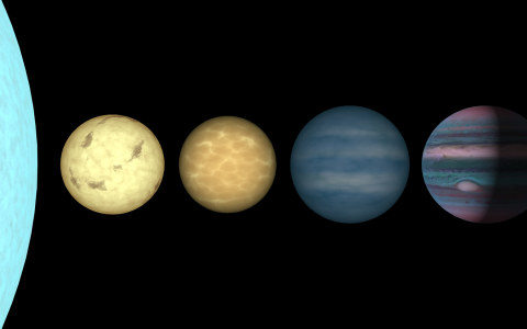 "This figure shows an artist's rendition comparing brown dwarfs to stars and planets. All objects are plotted to the same scale. On the far left is the limb of the Sun. To its right is shown a very low mass star (a so-called ""late-M dwarf""), a couple of br"